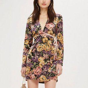 TOPSHOP Rose Floral Printed Velvet Wrap Dress 6